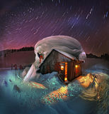 Вращение звезд вокруг полярной звезды стоковые изображения