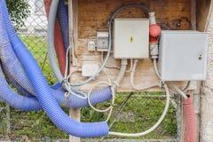 Временная электрическая панель на строительной площадке Стоковое Фото