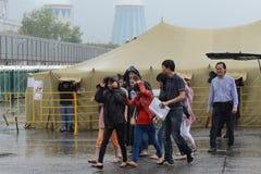 Временный лагерь для перемещенных лиц Стоковые Фотографии RF
