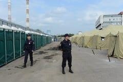Временный лагерь для перемещенных лиц Стоковое Изображение