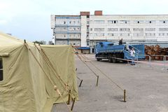 Временный лагерь для перемещенных лиц Стоковые Изображения RF