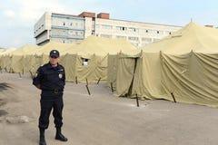 Временный лагерь для перемещенных лиц Стоковое Фото