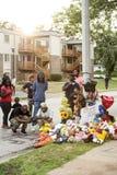 Временный мемориал для Майкл Брайна в Ferguson MO Стоковые Изображения RF