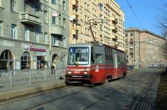 Временный номер 6A трамвая в Санкт-Петербурге Стоковое Изображение
