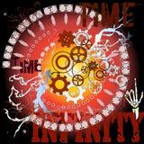 Время, безграничность, механизм часов, Gearwheels Стоковые Изображения
