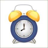 Время будильника голубое будя, изолированное на предпосылке Стоковые Изображения