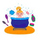 Время ванны девушки - иллюстрация Стоковое Изображение