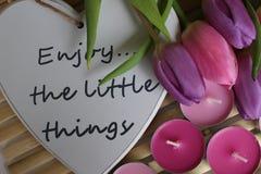 Время весны, день матерей, цветки и свечи, пинк, пурпур, симпатичное время, славный запах, симпатичные цвета, романтичные цвета,  Стоковая Фотография RF