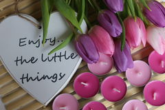 Время весны, день матерей, цветки и свечи, пинк, пурпур, симпатичное время, славный запах, симпатичные цвета, романтичные цвета,  Стоковые Изображения RF