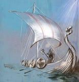 Время Викинга Корабль и ратник Drekar при ось стоя на горжетке Стоковая Фотография