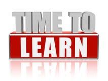 Время выучить в письмах 3d и блоке Стоковая Фотография