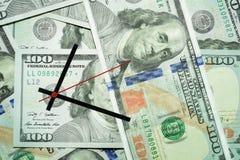 Время деньги время дег принципиальной схемы часов кредитки стоковое фото