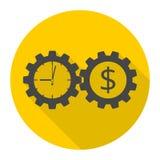 Время деньги, значок концепции шестерней дела с длинной тенью иллюстрация штока