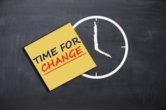Время для концепции изменения с примечанием будильника и бумаги на школьном правлении Стоковое фото RF