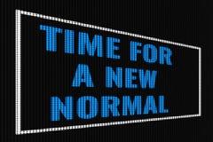 Время для нового нормального голубого текста на темном экране иллюстрация вектора