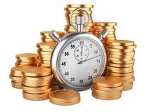 Время деньги - иллюстрация 3d золотых монеток секундомера и иллюстрация вектора