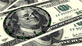 Время деньги часы 100 долларов Стоковые Изображения