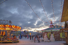 Время зимы и рождества в городе Daugavpils Стоковое фото RF