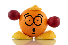 Время диеты. Смешной характер плодоовощ. Стоковая Фотография