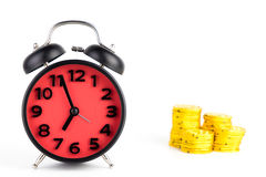 Время изолированная концепция будильника золота Стоковые Изображения