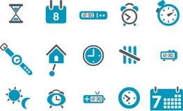 время иконы установленное Стоковое Изображение RF