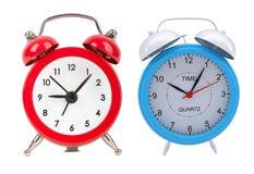 время имитации 11 45 часов будильников установленное Изолировано на белизне Стоковое Изображение RF