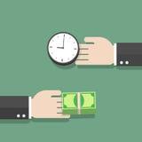 Время и деньги руки бизнесмена обменивая друг к другу Стоковое фото RF