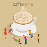 Время или перерыв на чашку кофе кофе Концепция взаимодействия людей группы беседуя общаясь иллюстрация штока