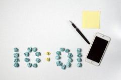 Время и стикеры и черные ручка и телефон Стоковые Изображения