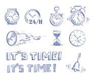 Время и часы значка установленное Стоковое Изображение