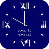 Время к remodeling дом Шкала вахты инструменты для ремонтировать в сини Профессионал remodel логотип обслуживаний иллюстрация вектора