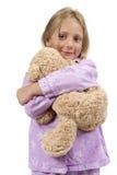 Время ложиться спать - ребенок в пижамах с плюшевым медвежонком Стоковая Фотография RF