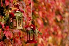 Время падения древесина pomegranate в октябре виноградин украшения каштана осени Подсвечники в форме lanter Стоковое фото RF