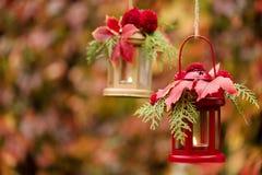 Время падения древесина pomegranate в октябре виноградин украшения каштана осени Подсвечники в форме lanter Стоковые Фотографии RF