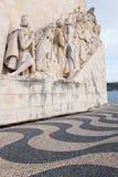 Время памятника открытий в Лиссабоне, Португалии Стоковое Изображение RF