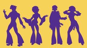Время партии души Танцоры фанка или диско силуэта души Люди в 1980s, девятом десятке вводят одежды в моду танцуя диско, иллюстрация штока