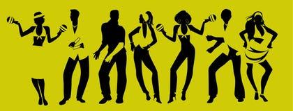 Время партии сальсы Группа в составе 3 люд и 4 женщины танцуя латинская музыка бесплатная иллюстрация
