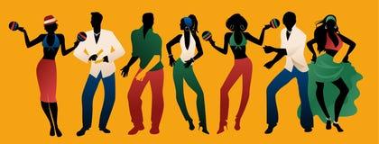 Время партии сальсы Группа в составе 3 люд и 4 женщины танцуя латинская музыка иллюстрация вектора