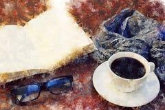 Время перерыва на чашку кофе - watercolour digitaly создал таблицу с кофе, шарфом, книгой, стеклами чтения - перерыв зимы стоковая фотография