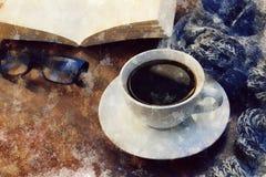 Время перерыва на чашку кофе - watercolour digitaly создал таблицу с кофе, шарфом, книгой, стеклами чтения - перерыв зимы стоковые фото