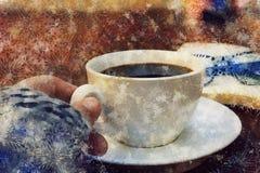 Время перерыва на чашку кофе - watercolour digitaly создал таблицу с кофе, шарфом, книгой, стеклами чтения - перерыв зимы стоковые фотографии rf