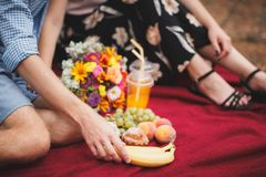 Время пикника Влюбленность и нежность, датировка, романс, концепция образа жизни Пикник - молодой луг пар весной стоковые изображения rf