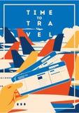 Время плакат каникул путешествовать и авиапорта бесплатная иллюстрация