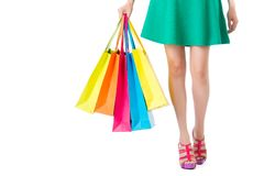 Время покупок женщины крупный план ног девушки красоты Стоковое Фото