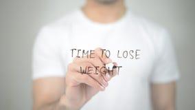 Время потерять вес, сочинительство человека на прозрачном экране Стоковые Изображения RF