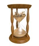 Время проходя как песок в тонких струйках старых часов вниз и жизни бежит вне бесплатная иллюстрация