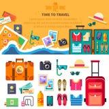 Время путешествовать, летние каникулы, остатки пляжа Стоковая Фотография
