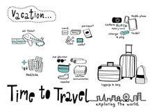 Время путешествовать предпосылка белизны Doodle Стоковая Фотография RF