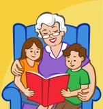Время рассказа с бабушкой Иллюстрация вектора