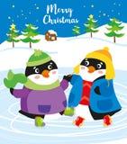 Время рождества: счастливые пингвины на льде иллюстрация вектора